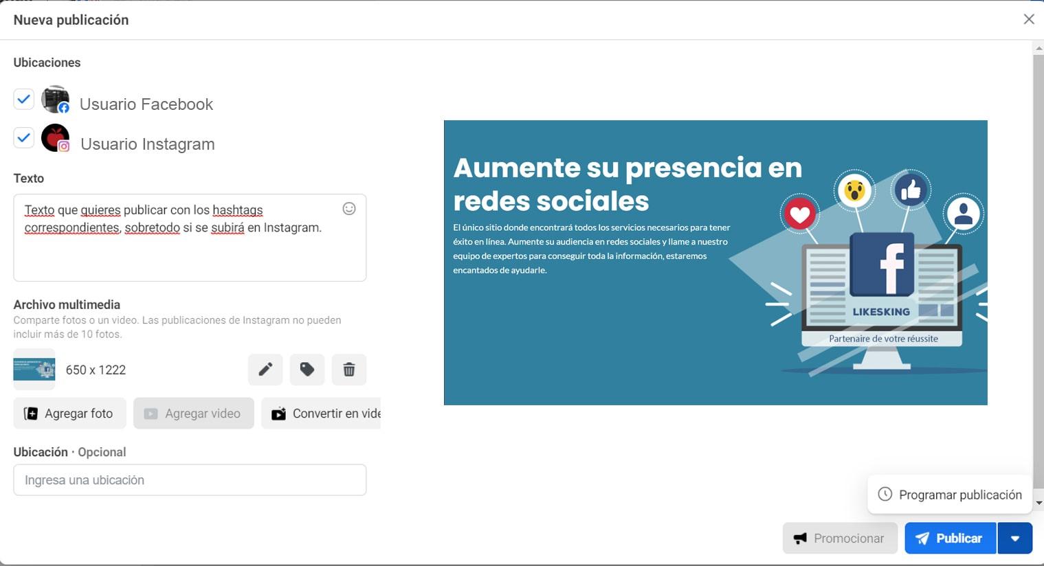 Programar contenido en redes sociales